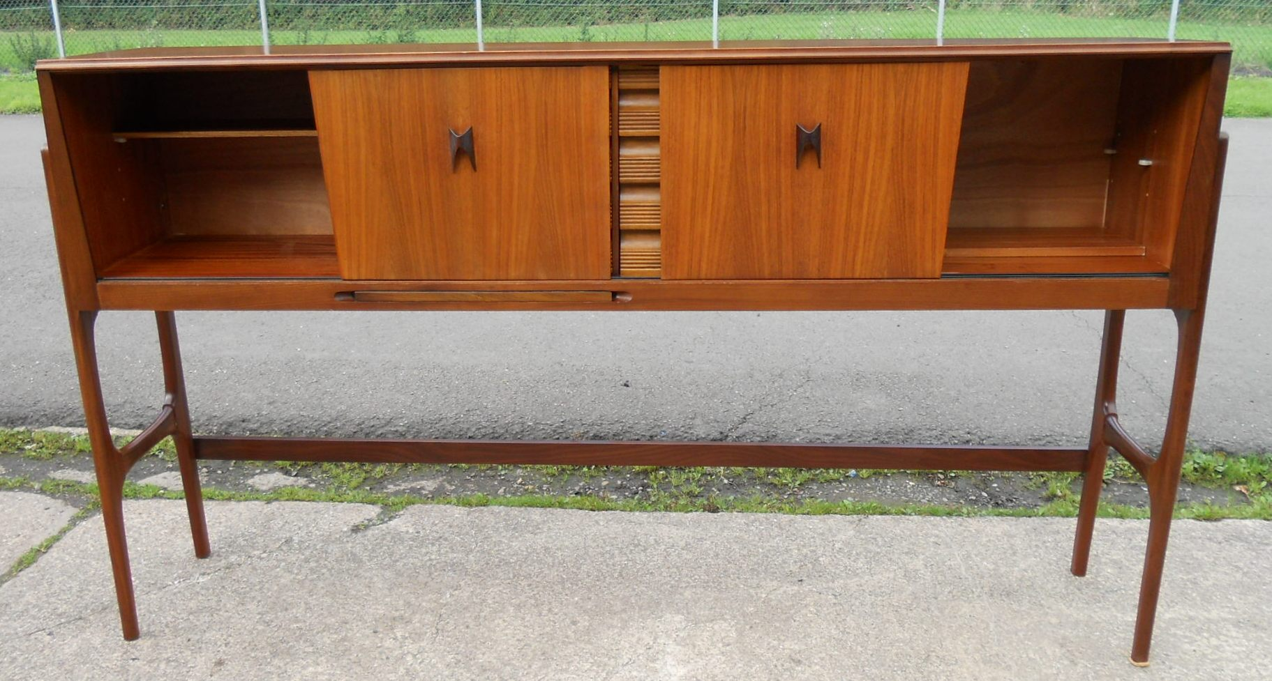 Tall Teak Retro 1960 s Serving Sideboard Cabinet